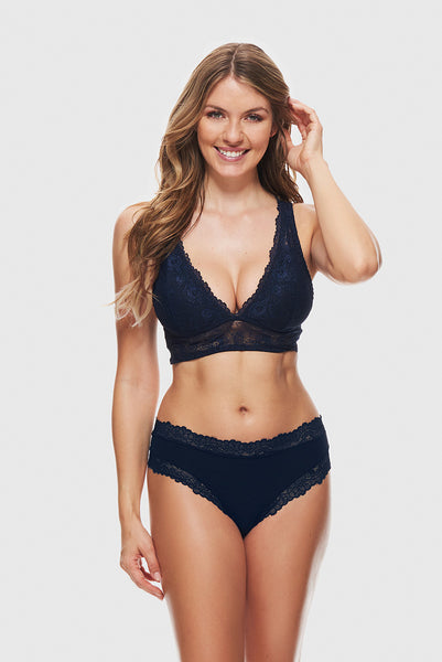 LOVELY LACE BRALETTE - NAVY