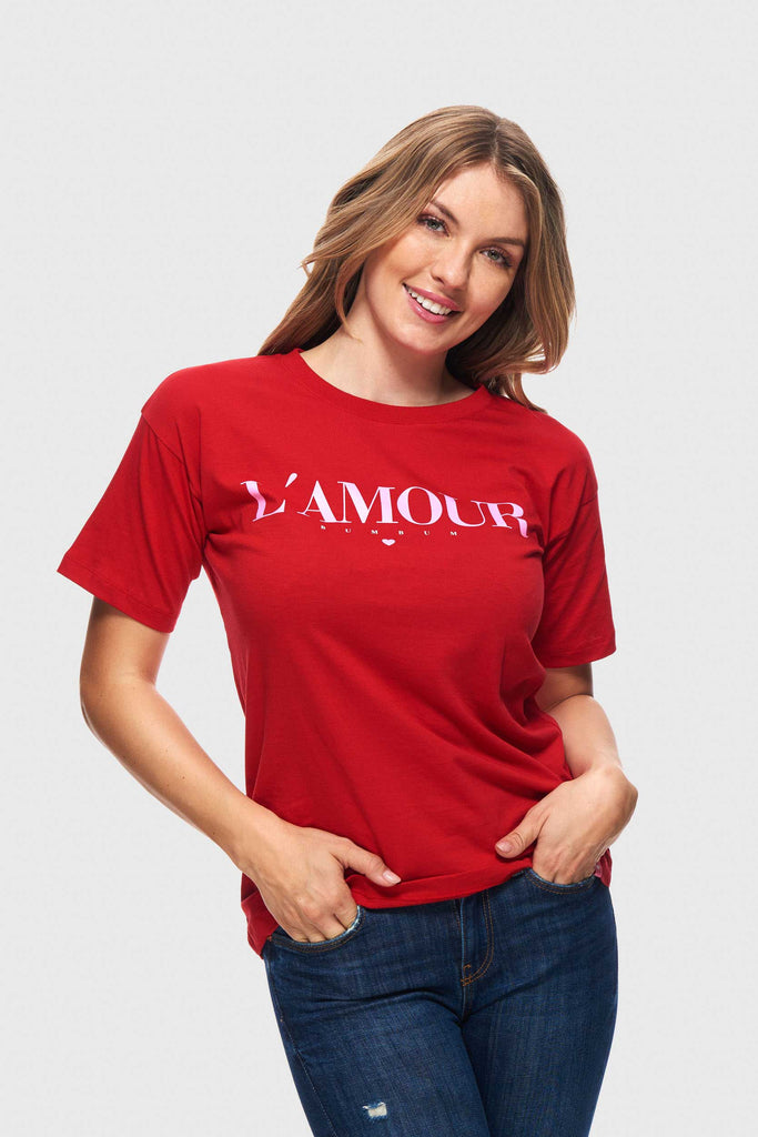 STATEMENT SHIRT L`AMOUR- RED