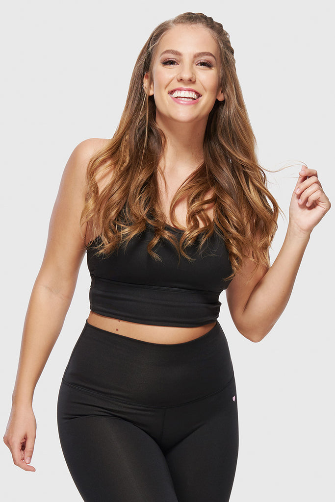 CROPPED RACERBACK SPORTS BRA - JET BLACK