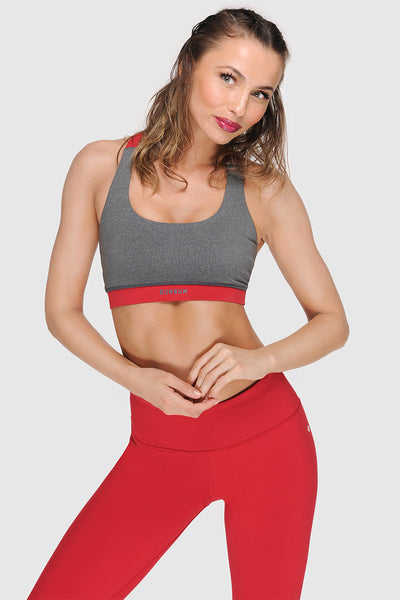 CROSSBACK SPORTS BRA - HEATHER GREY