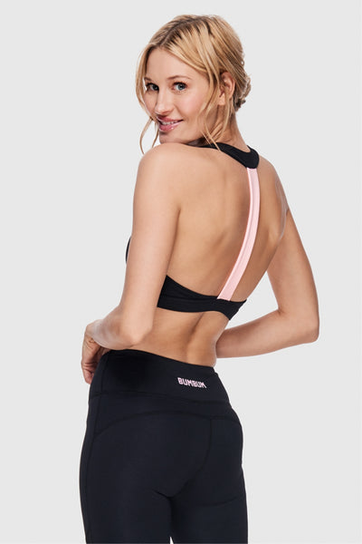 LOVELY STRAP SPORTS BRA - PURE BLACK