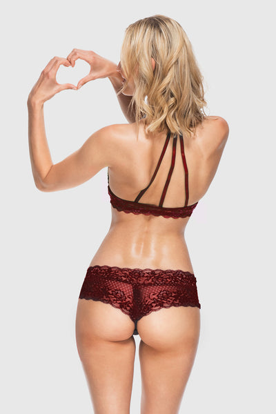 LACE CHEEKSTER - BURGUNDY
