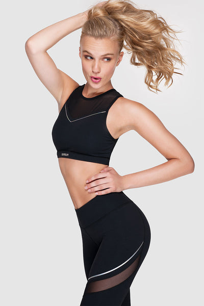 BACK ZIP SPORTS BRA - HOLOGRAPHIC BLACK