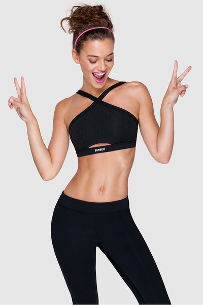 CROSS ME SPORTS BRA - PURE BLACK