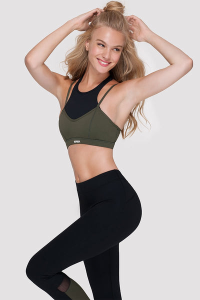 DOUBLE LAYER SPORTS BRA - ARMY GREEN