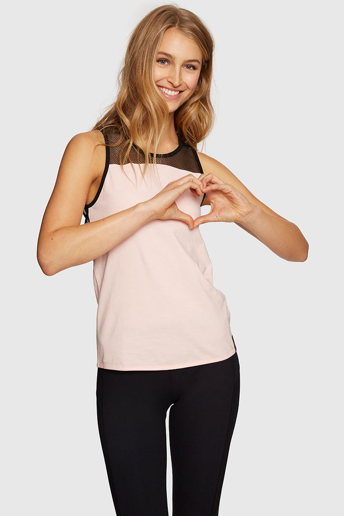 STRAPPY MESH TANK - ROSE