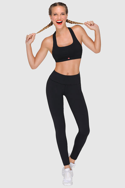 STRAPPY BACK SPORTS BRA - PURE BLACK