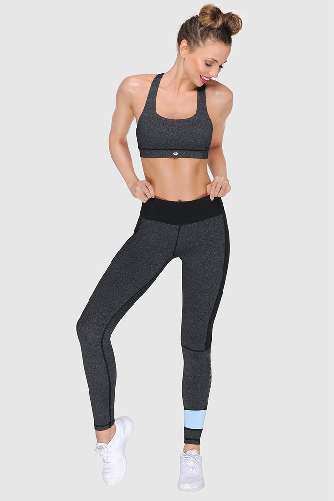 STRAPPY BACK SPORTS BRA - DARK HEATHER