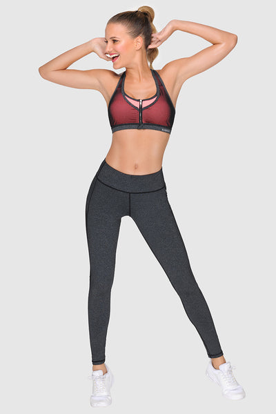 ZIP UP SPORTS BRA -  DARK HEATHER