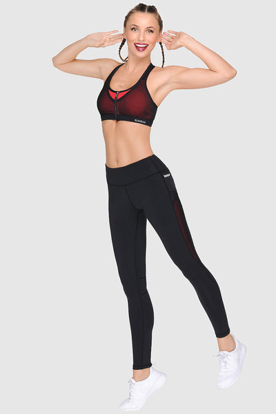 ZIP UP SPORTS BRA -  PURE BLACK
