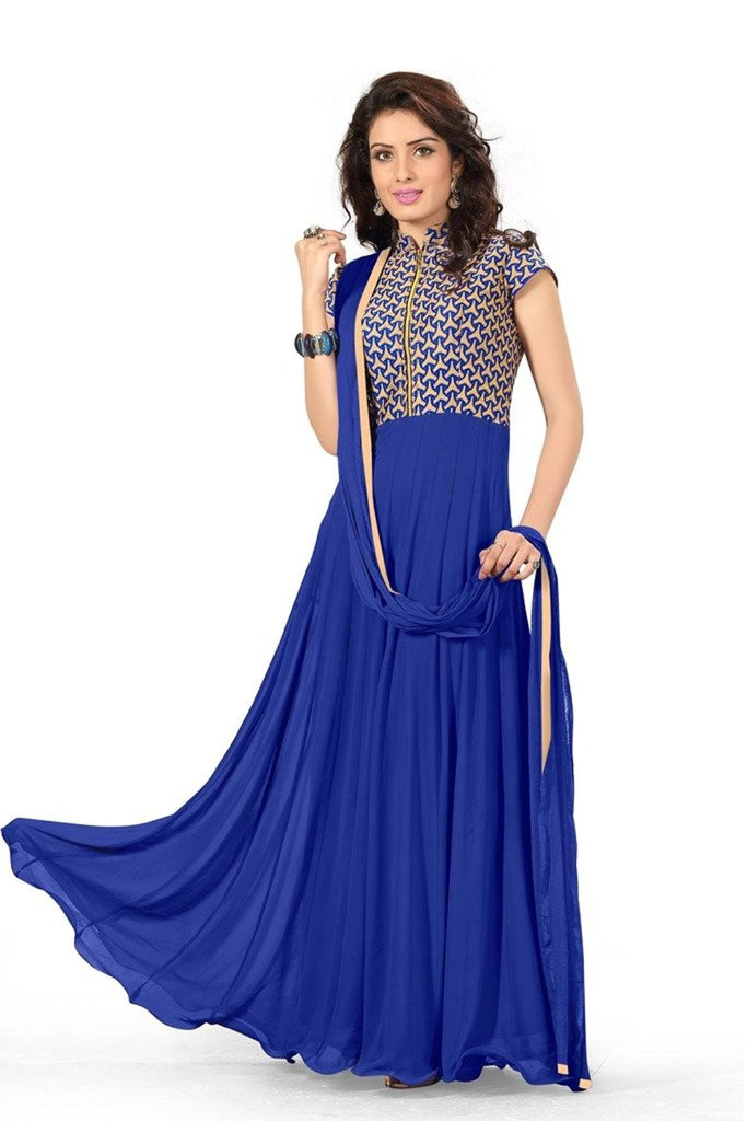 Georgette Blue Color Semi Stitched Full Length Anarkali Gown Style ...