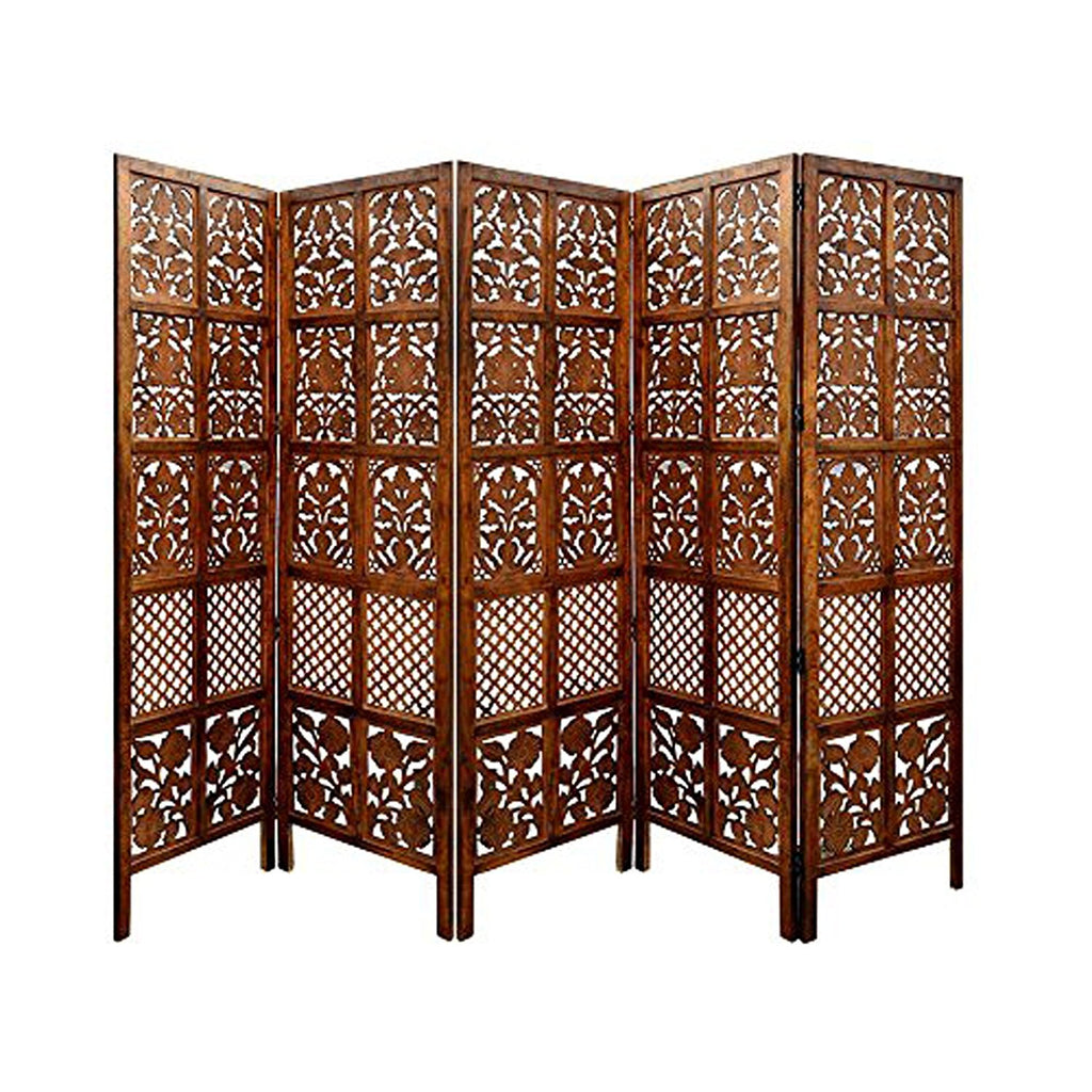 Artesia Handcrafted 5 Panel White Wooden Room Partition Wooden