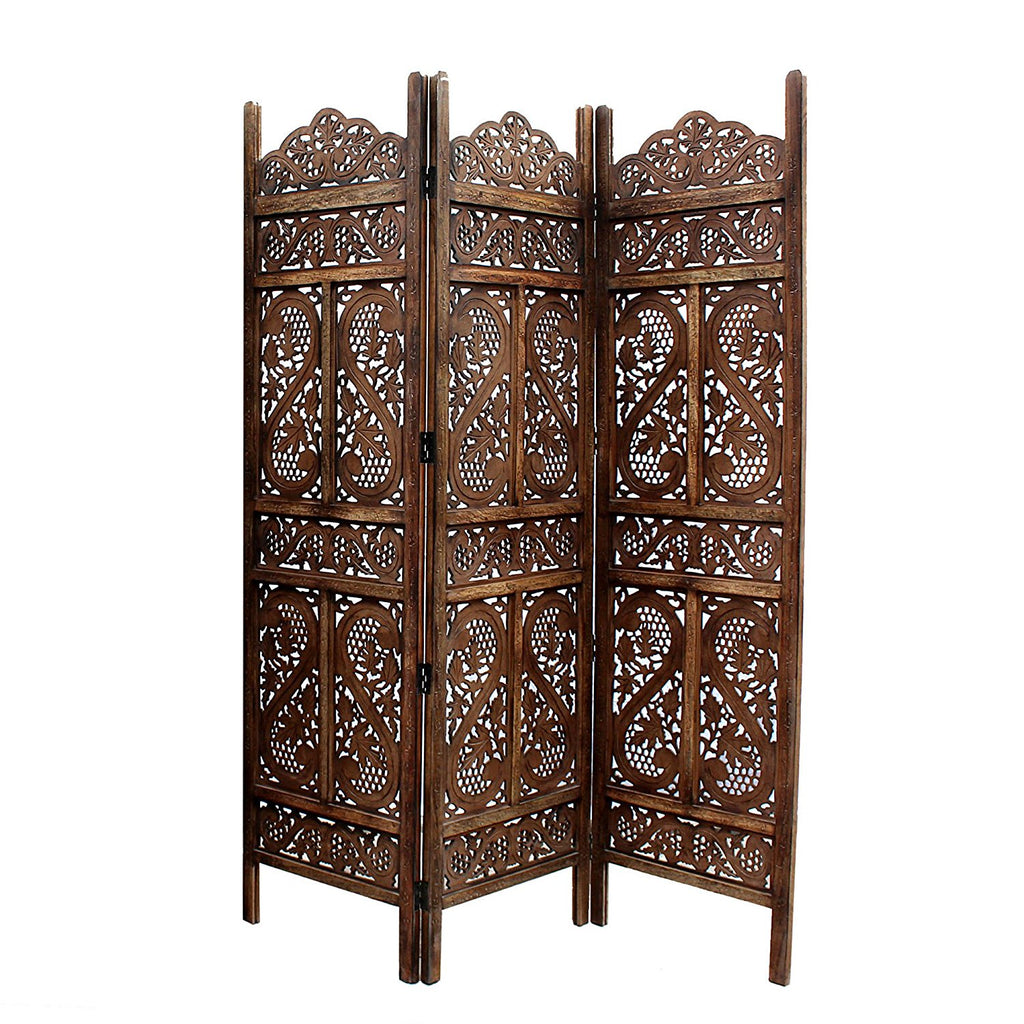 Artesia Handcrafted 3 Panel Wooden Room Partition Brown Room