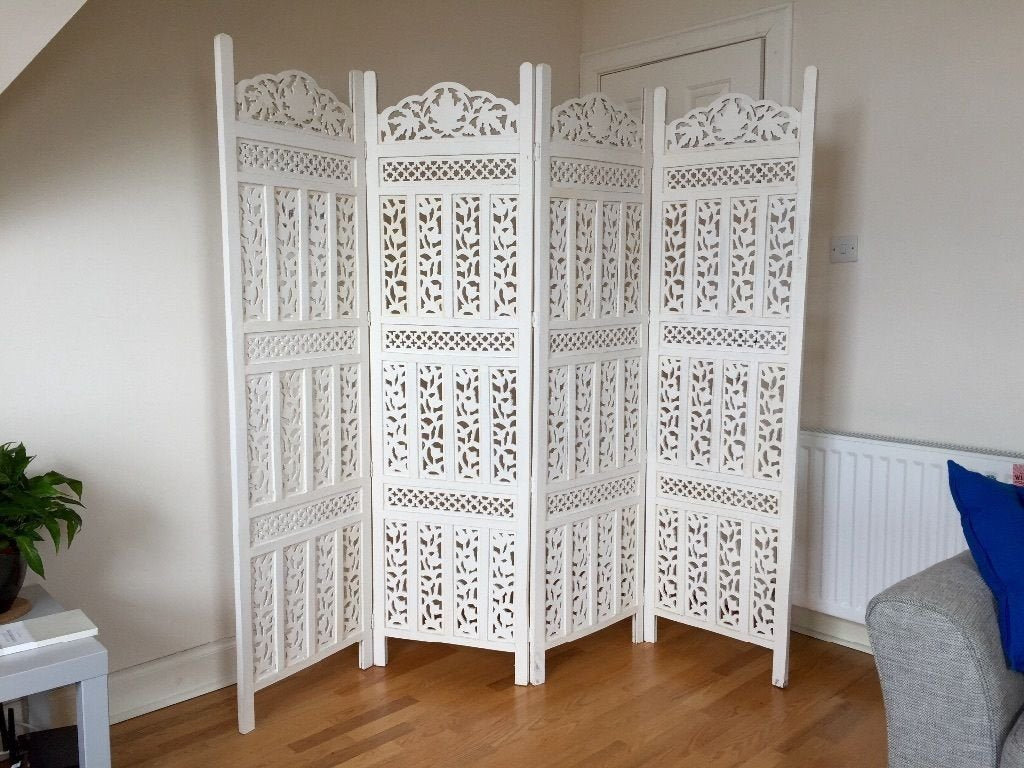 Artesia Handcrafted 4 Panel White Wooden Room Partition Wooden