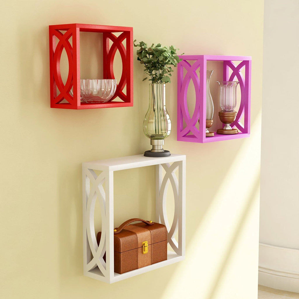 Red Pink White Wooden Nested Wall Shelf With Jali Work Set Of Three ...