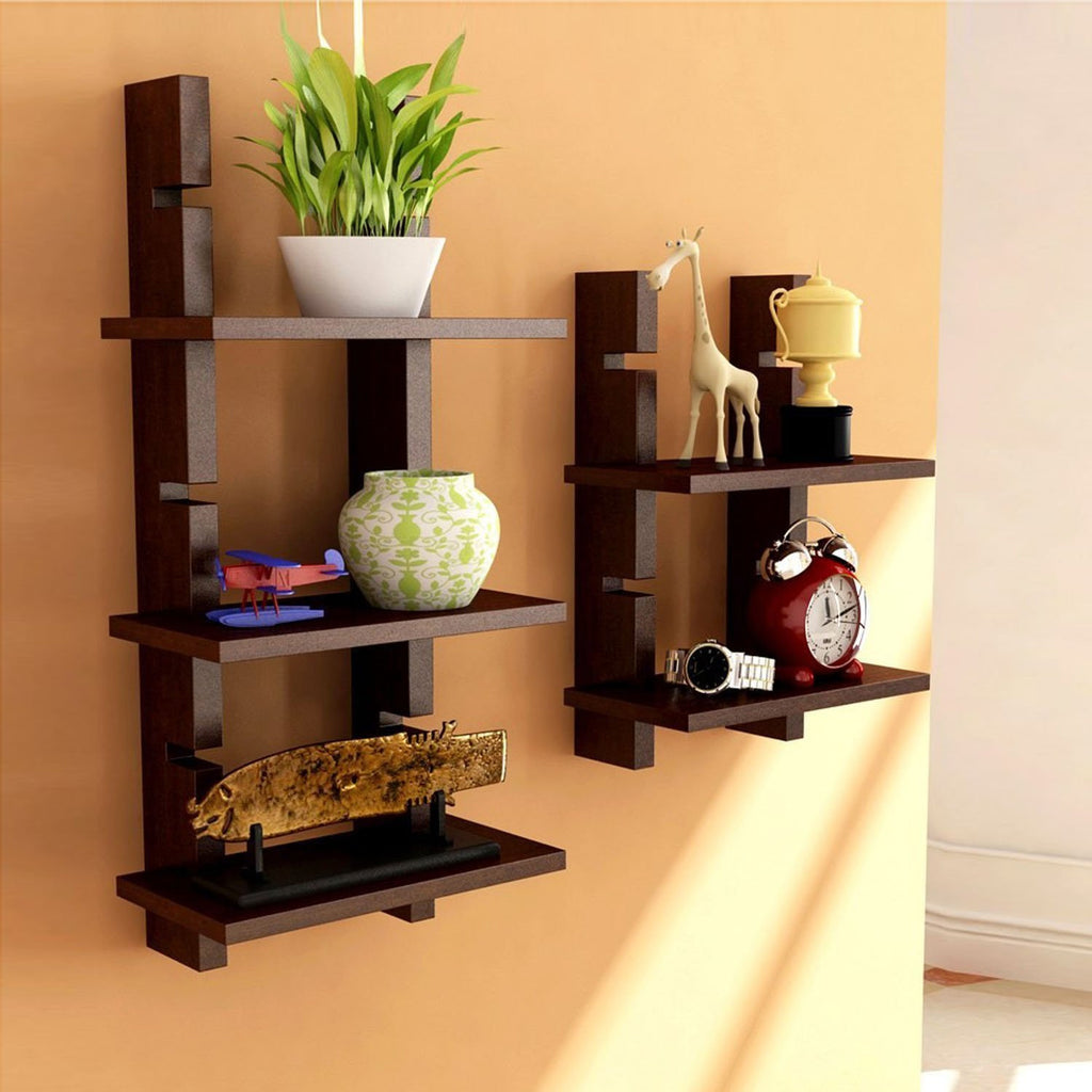 ... Brown Wooden Ladder Wall Shelves/ Wall Shelf/ Display Rack Shelf ...