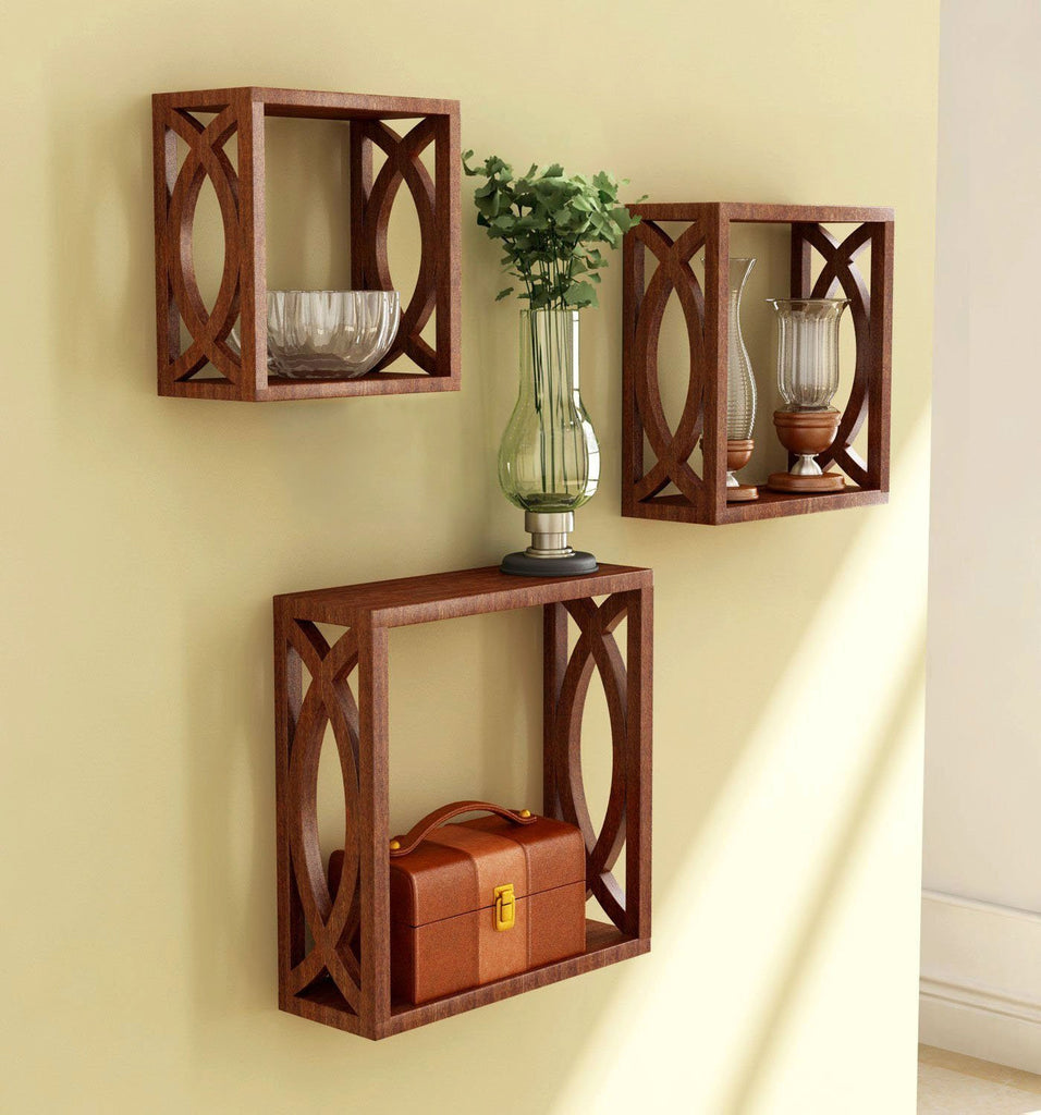 Brown Wooden Nested Wall Shelf With Jali Work Set Of Three ...