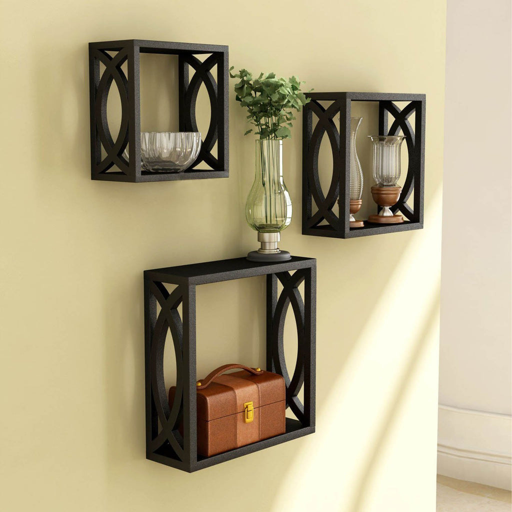 Black Wooden Nested Wall Shelf With Jali Work Set Of Three – Artesia ...
