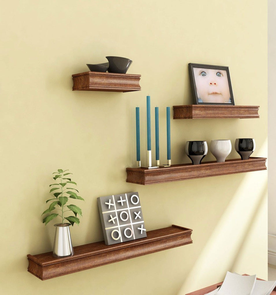 Brown Wooden Wooden Wall Shelf Set Of Four Display Rack Shelf For Hom Artesia Shop