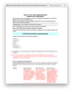 CARD 205 CARD205 Week 2 Career and Company Research Template and Grading Rubric - Devry