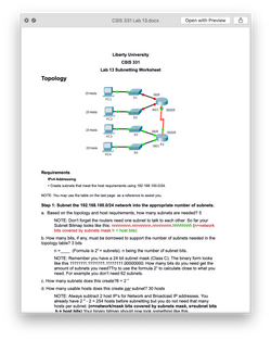 CSIS 331 CSIS331 Lab 13 Subnetting Worksheet - Liberty