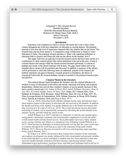 EDU 508 EDU508 Assignment 2 The Literature Review - Strayer