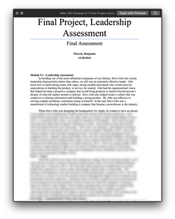MBA 550 MBA550 Module 9.1 Final Project Leadership Assessment - SNHU