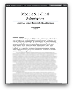 MBA 635 MBA635 Module 9-1 Final Project Corporate Social Responsibility - SNHU