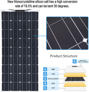 Solarparts  Flexible Solar Panel  System kit 100W 12V