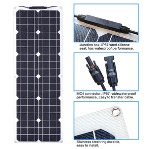 Solarparts 50Watt 12Volt Monocrystalline flexible solar panel RV yacht Kit
