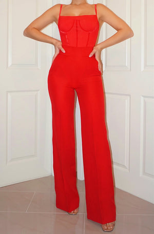 RED HIGH WAIST TROUSER