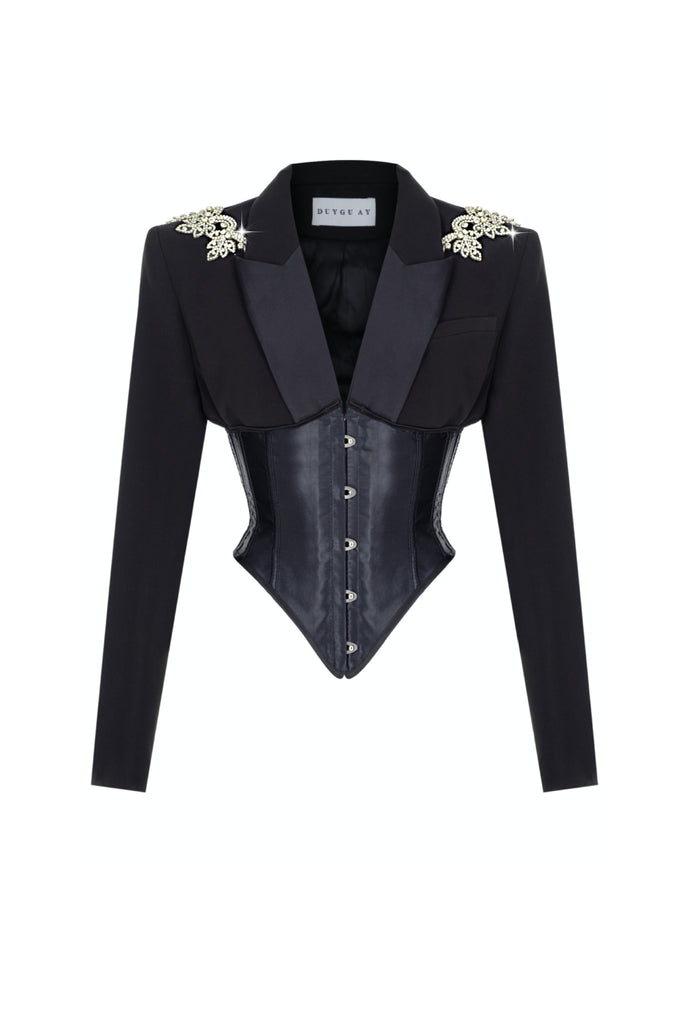 EMBROIDERED CRYSTAL CORSET BLAZER