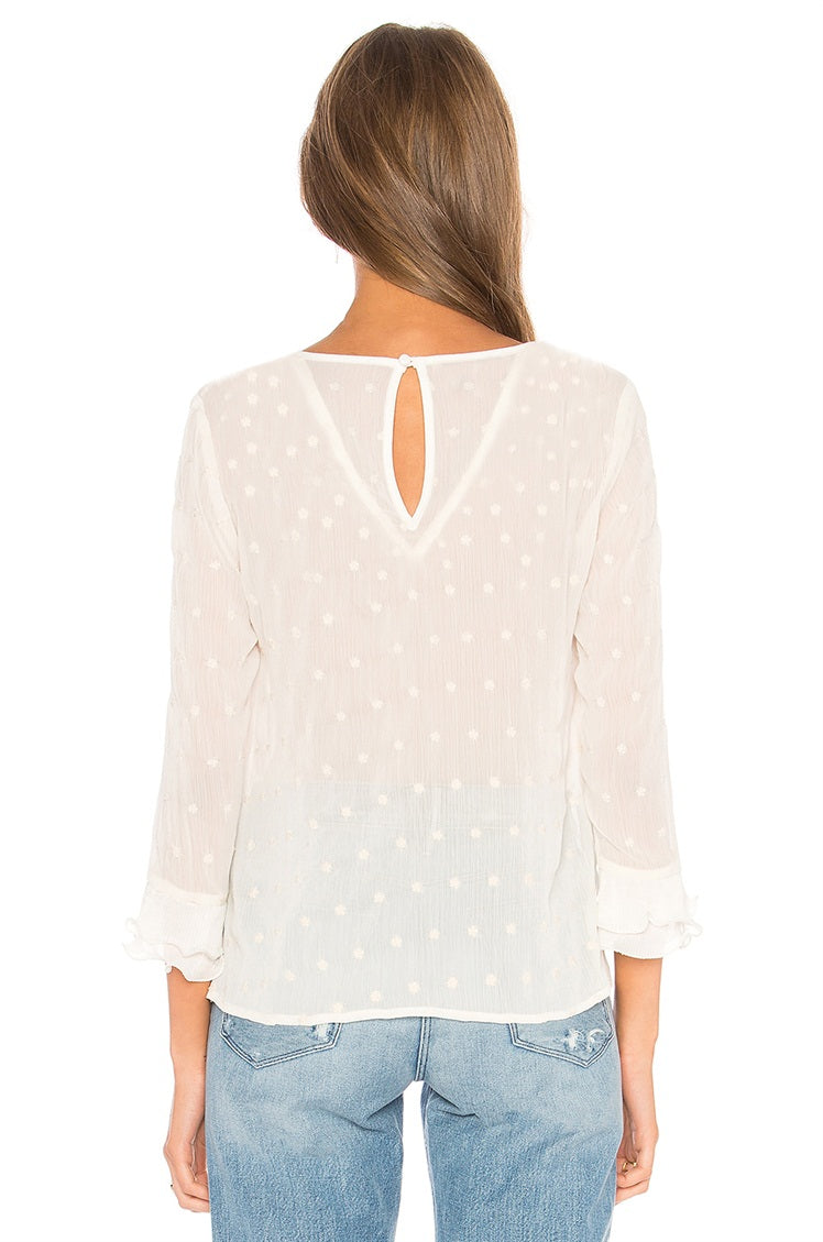 White Dots Long Sleeve Top