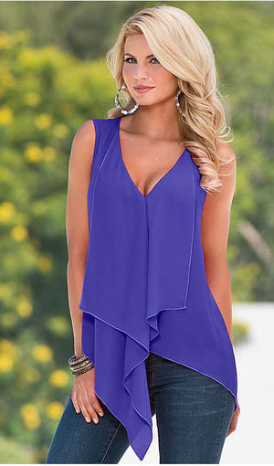 Sleeveless Chiffon Irregular Top, top, VIVIMARKS