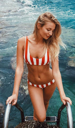 Stripe Double-sided Color  Bikini Set