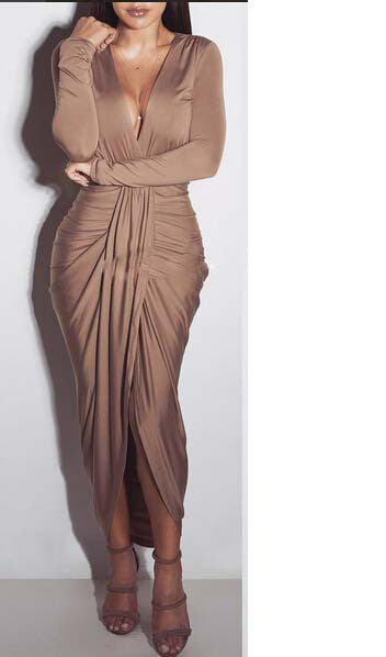 Long Sleeve Deep V Neck Slit Dress, dress, VIVIMARKS