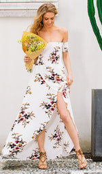 Floral Off The Shoulder Slit Maxi Dress, dress, VIVIMARKS