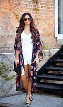 Load image into Gallery viewer, Floral Long Chiffon Overall, cardigan, VIVIMARKS