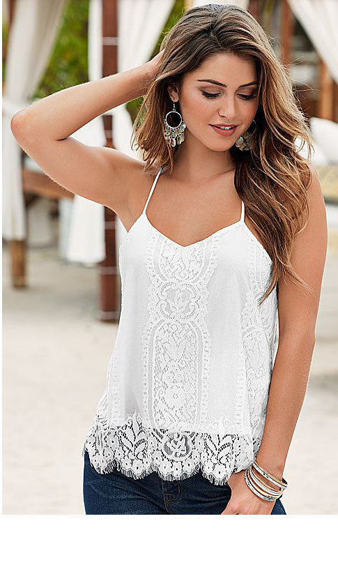 White lace Spaghetti Straps Top