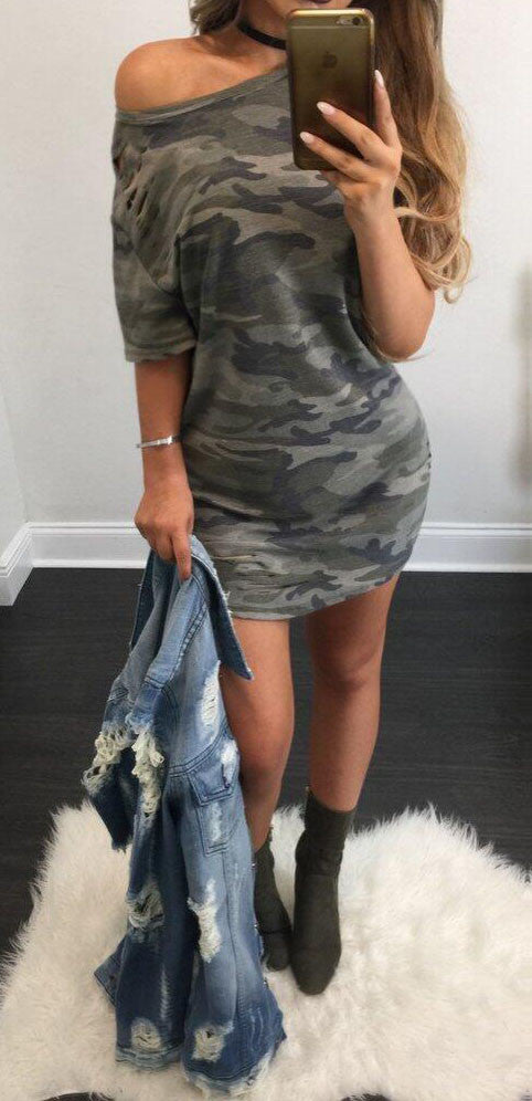 Camouflage Short Sleeve Dress, dress, VIVIMARKS
