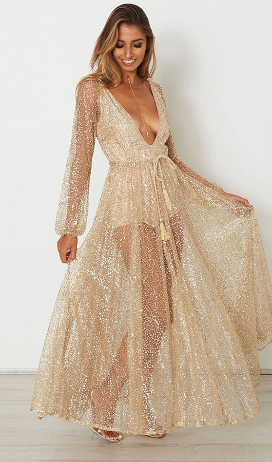 Deep V Neck Sequins See-through Maxi Dress, dress, VIVIMARKS