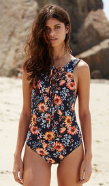 Floral Backless Lace Up Swimsuit