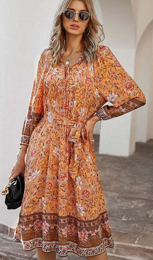 Three Quarter Sleeve Floral Dress