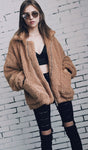 Front Zipper Woollen Coat