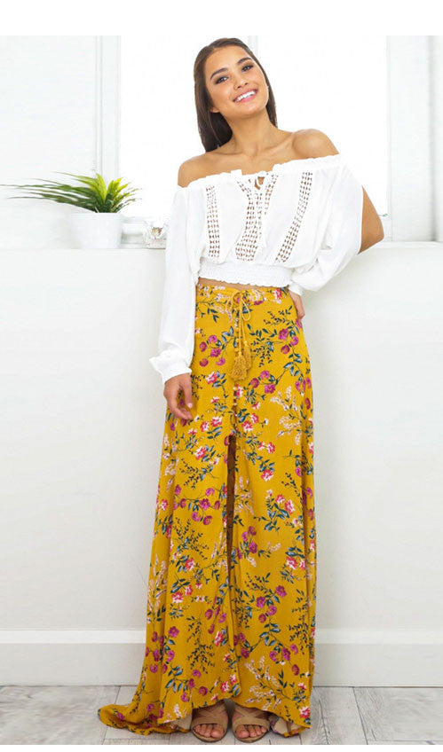 Yellow Floral Slit Skirt, skirt, VIVIMARKS