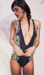 Floral Deep v Neck One Piece Swimsuit, bikini, VIVIMARKS