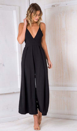 Casual Deep V Neck Jumpsuit, jumpsuit, VIVIMARKS