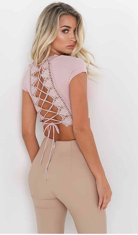 Lace Up v Neck Lace Top