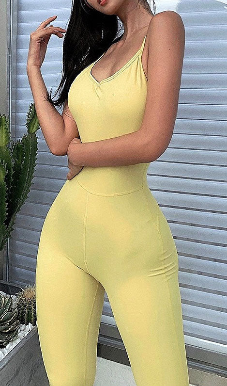 Solid Color Backless Romper
