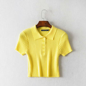 Front Buttons Knit Tops